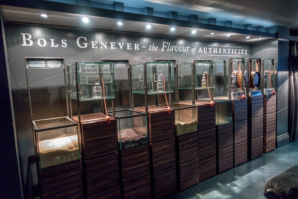 An exhibit at the House of Bols in Amsterdam teaches visitors about the components of genever and their scents