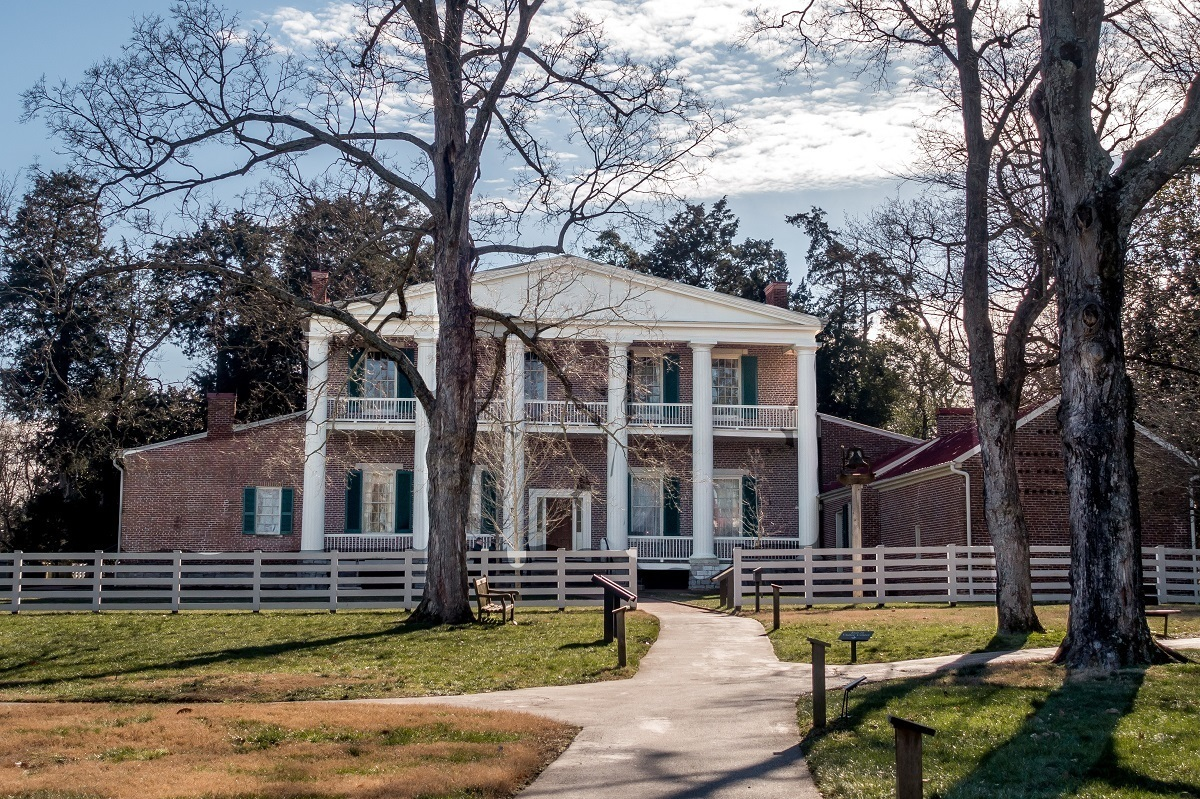 The back of Andrew Jackson's Hermitage outside of Nashville. It is the most historically accurate of the presidents homes.