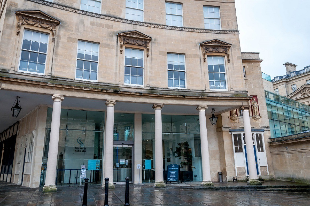 The entrance of the Thermae Spa in Bath.