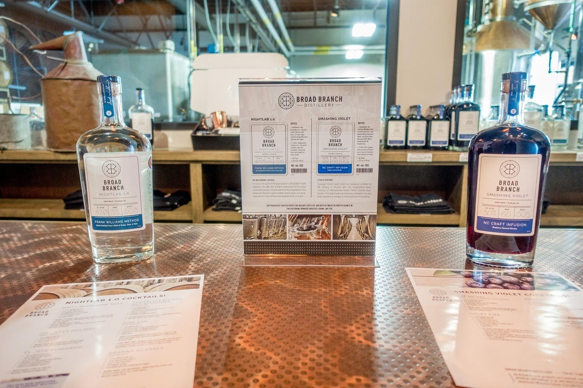 Try the white whiskey and blueberry-flavored North Carolina whiskey at Broad Branch distillery