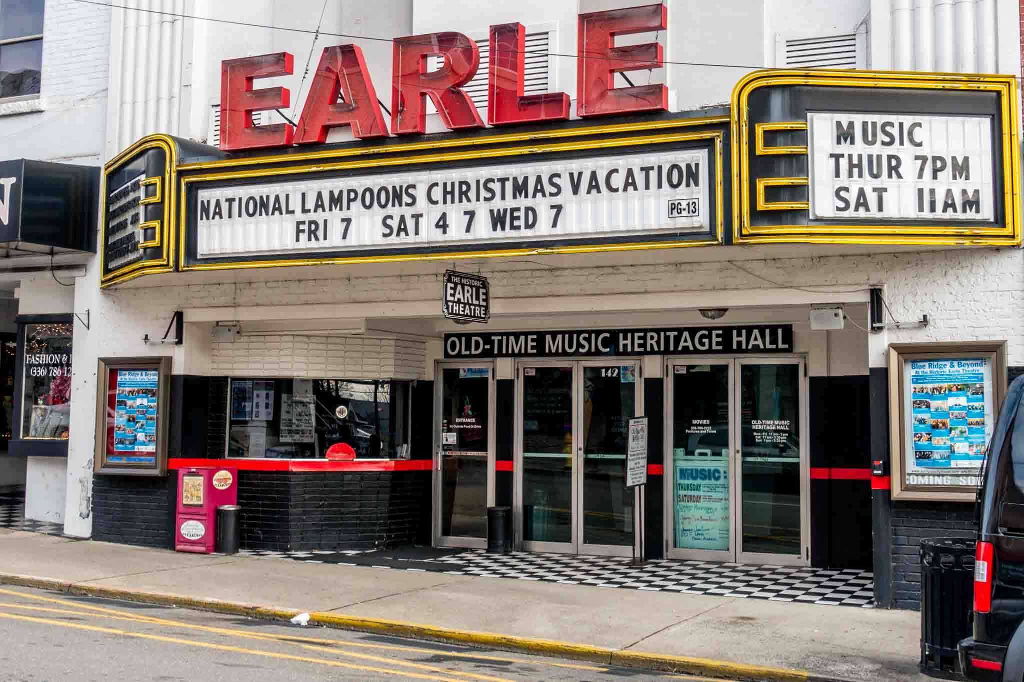 Seeing a show at the Earle Theater is one of the fun things to do in Mayberry NC