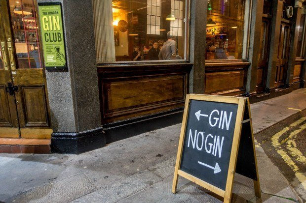The Gin or No Gin sign outside The London Gin Club.