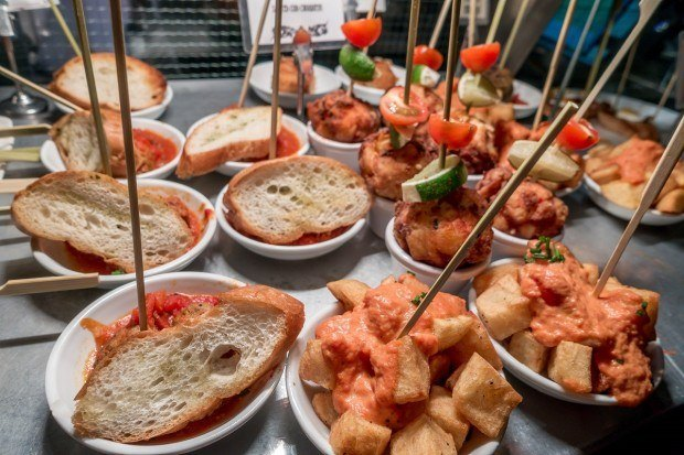 The pintxos, the long-stick tapas at the Pix Bar.