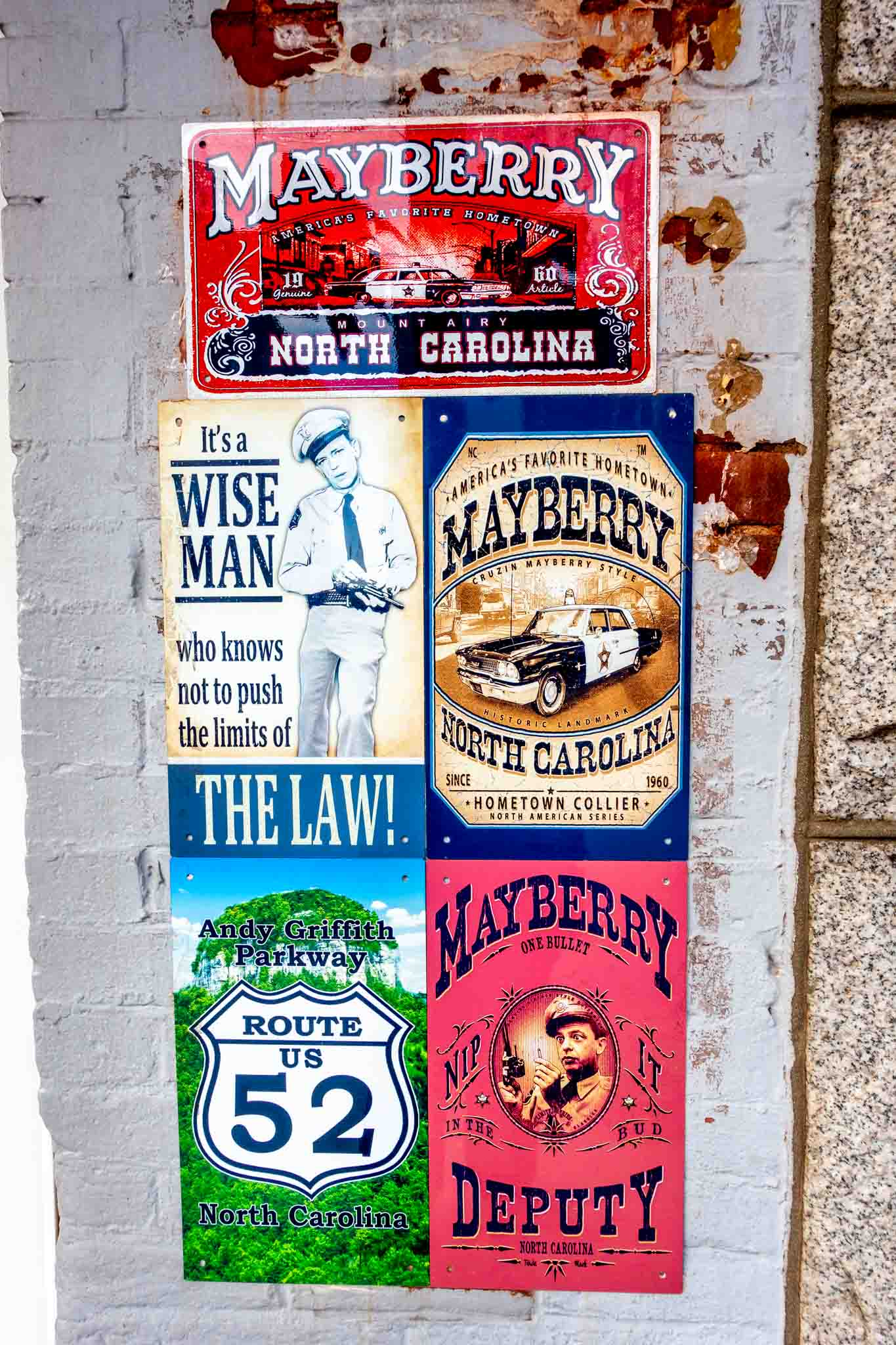 Five signs with Mayberry themes in Mt Airy