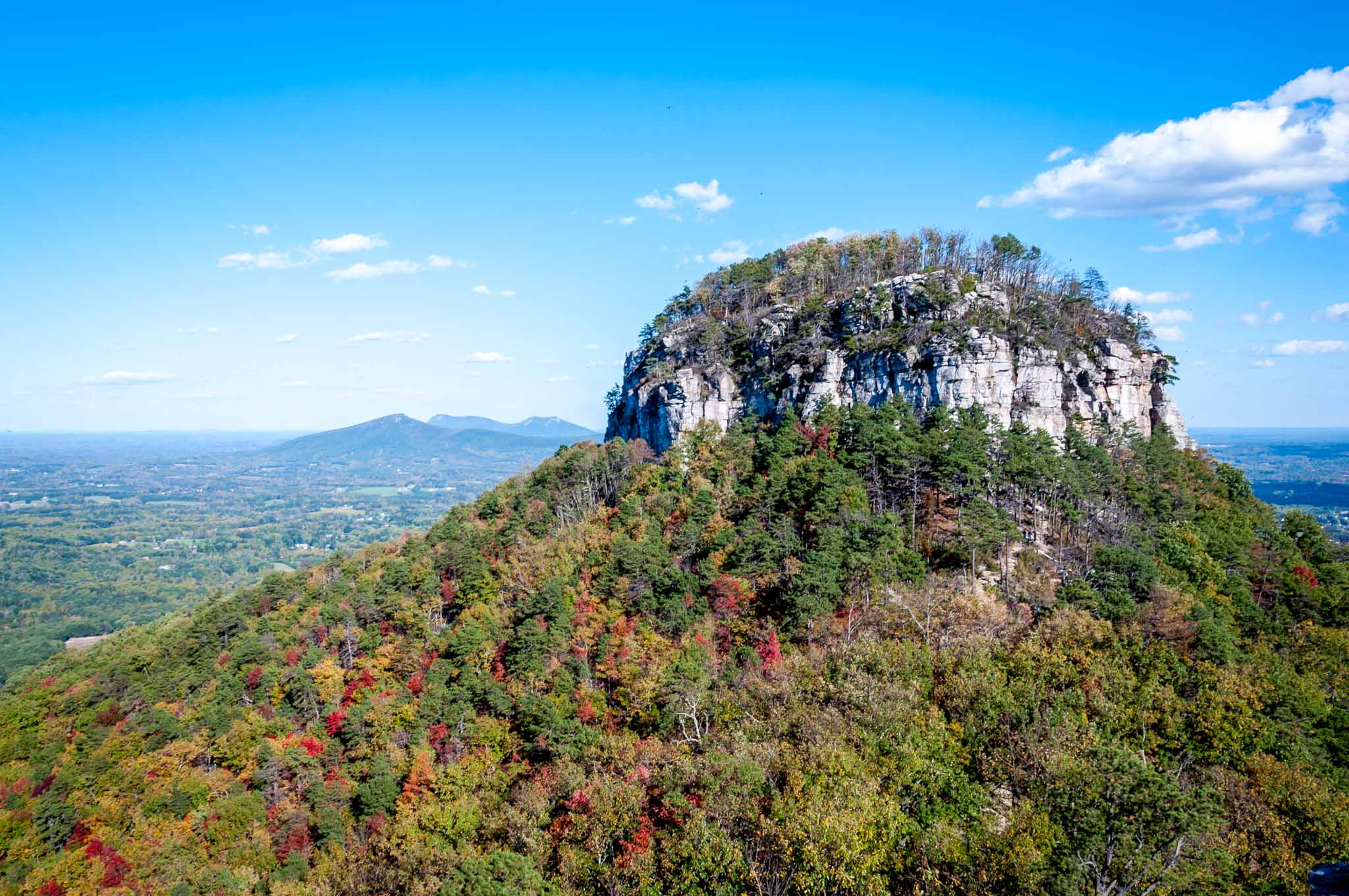 A visit to Pilot Mountain State Park is one of the fun things to do in Mount Airy North Carolina. The Big Pinnacle can be seen for miles around.