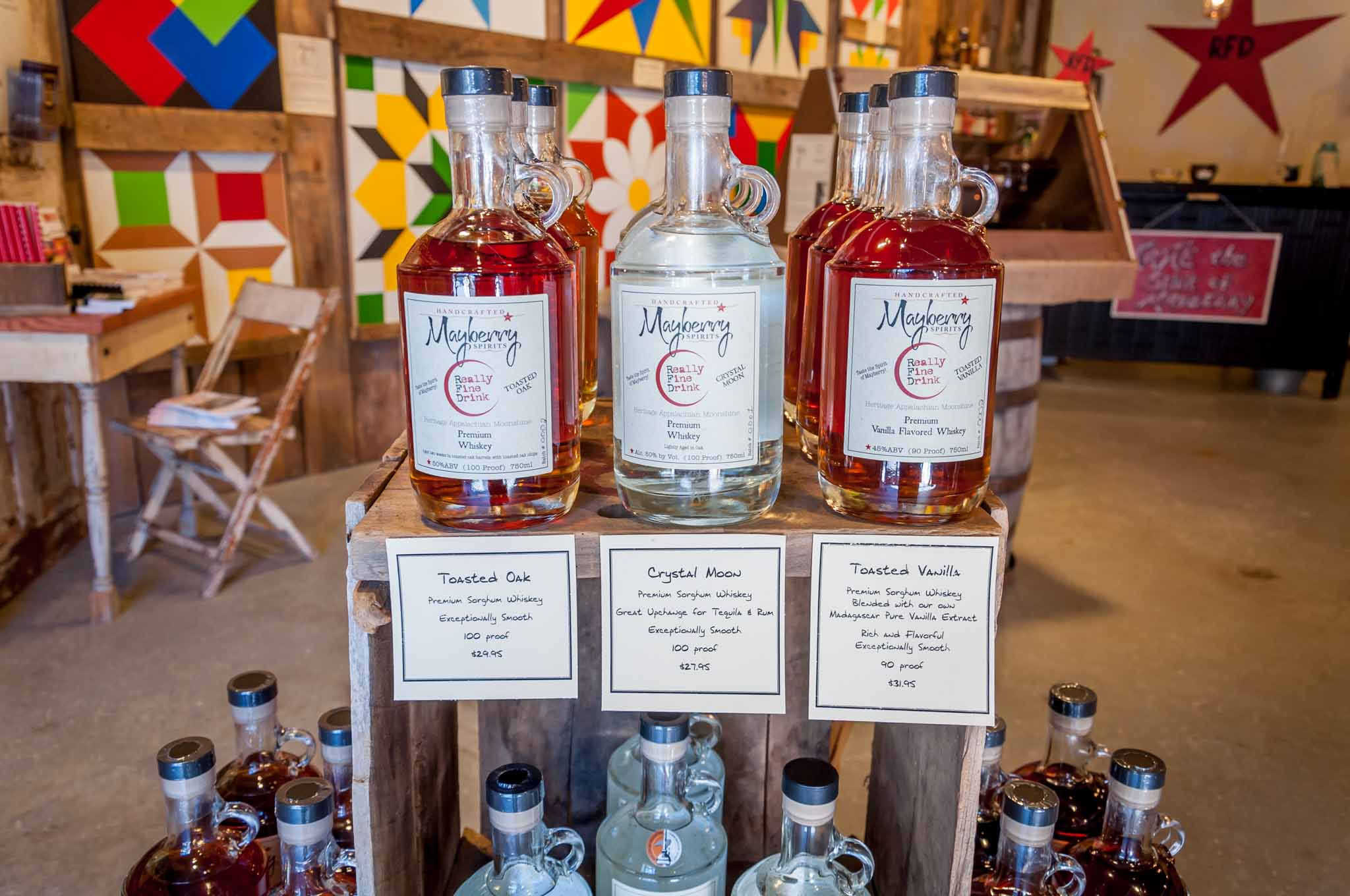 Whiskeys for sale at Mayberry Spirits. Visiting the distillery is one of the great things to do in Mount Airy, NC.
