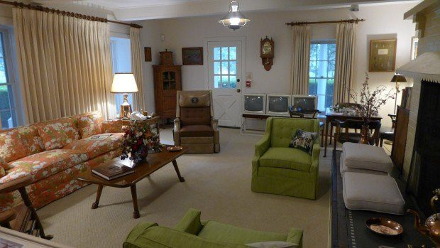 The living room at LBJ's Texas White House. It is one of the more contemporary presidents' homes people can visit.