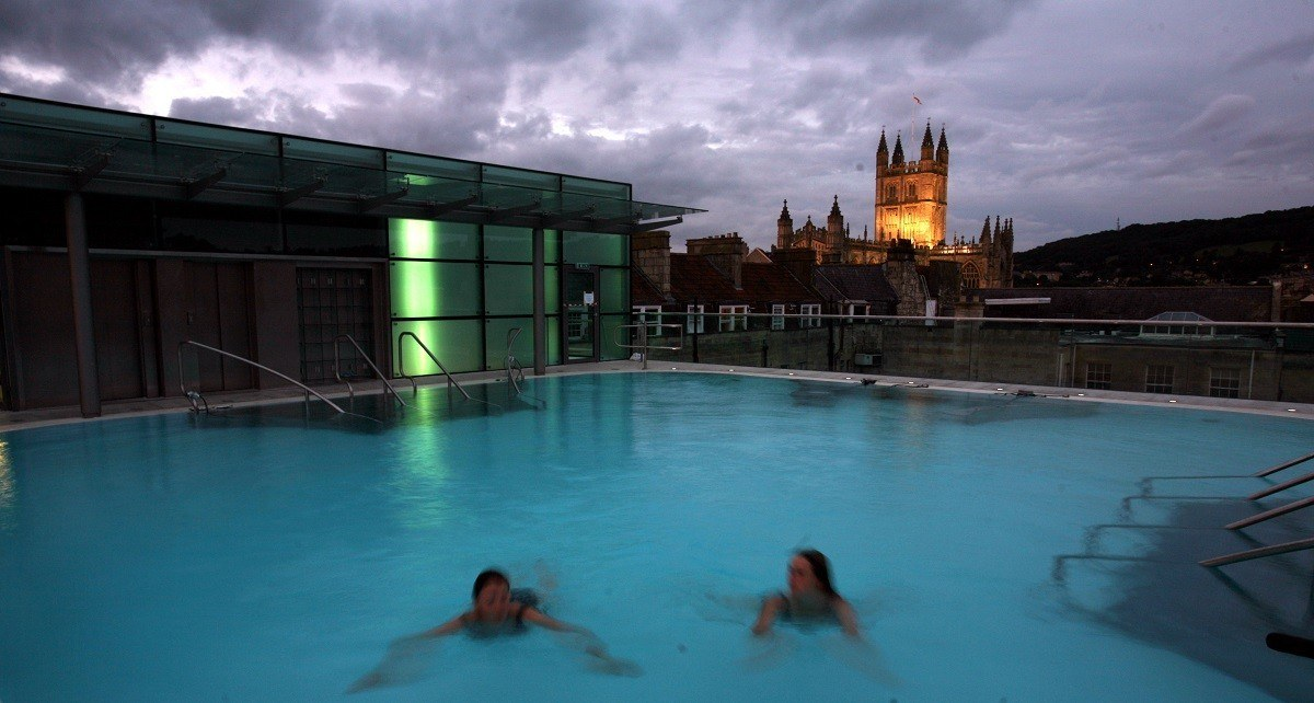 The Bath Thermae Spa at Twilight.