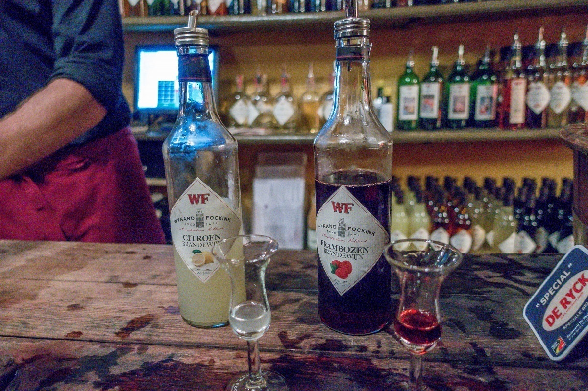 Lemon and raspberry fruit brandies are two of the more popular products at Amsterdam's Wynand Fockink
