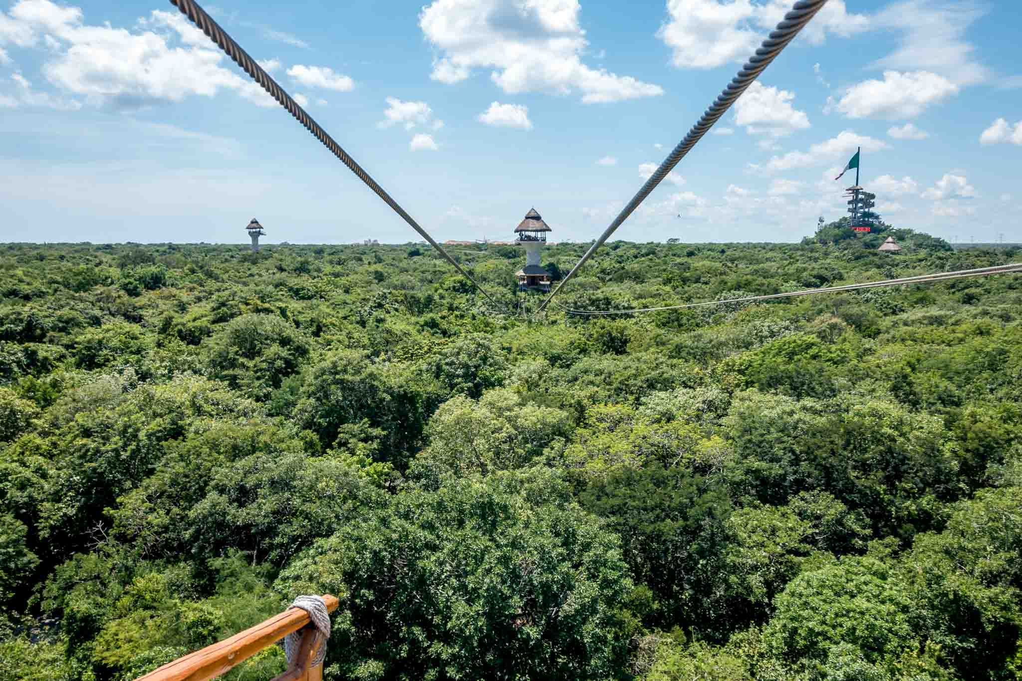 View from the zip lines at Xplor Riviera Maya (Parque Xplor) near Cancun, Mexico