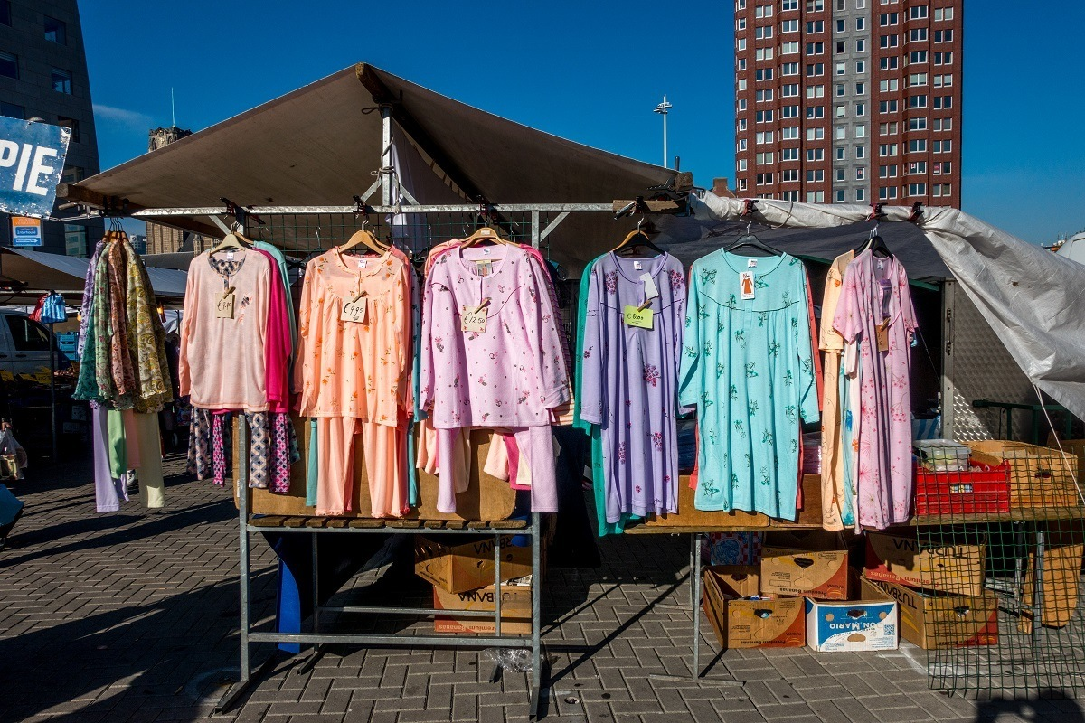 Hanging clothes for sale at Binnenrotte Market