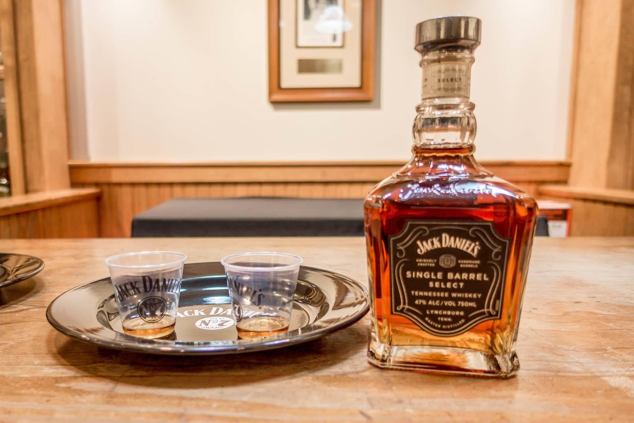 Jack Daniel's Single Barrel whiskey bottle and samples
