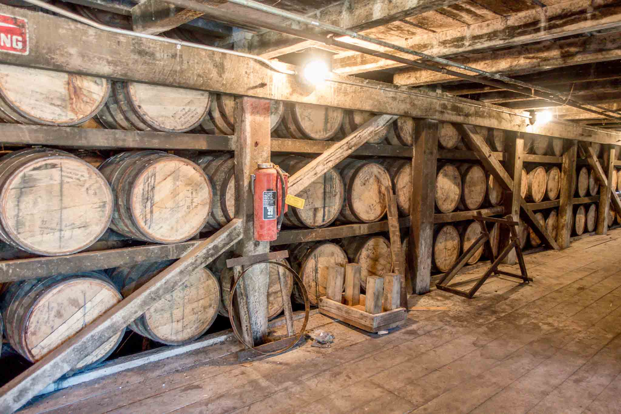 Whiskey barrels in storage at Jack Daniels distillery in Lynchburg Tennessee