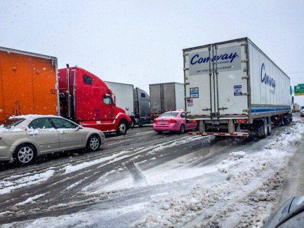 Traffic jam in the snow