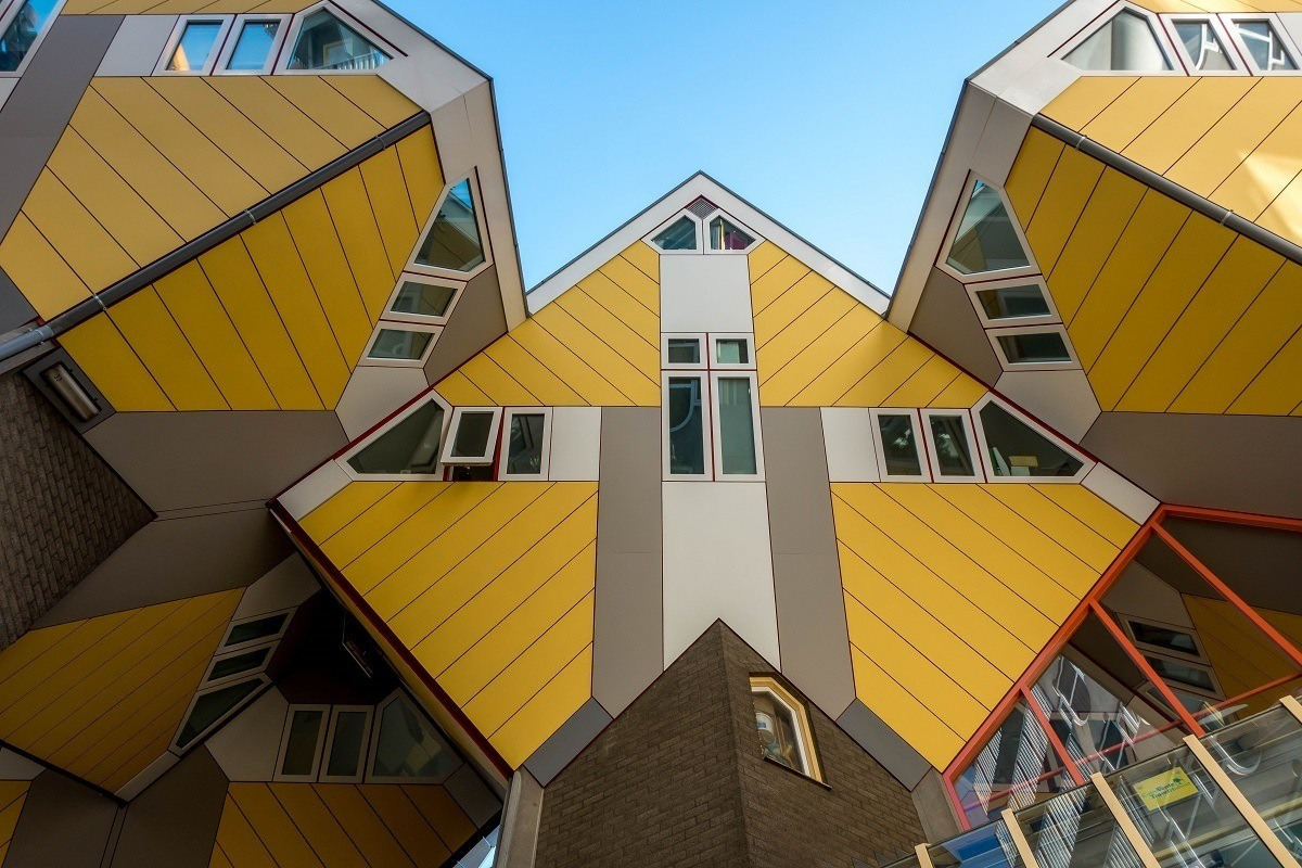 Close up of yellow Cube Houses