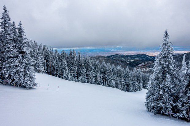 The slopes and view at Ski Santa Fe.