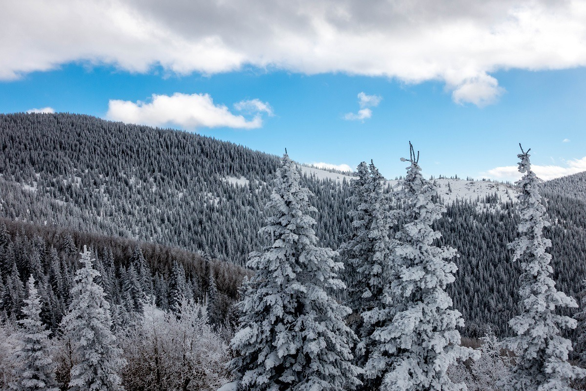 The snow covered mountains of the Ski Santa Fe resort