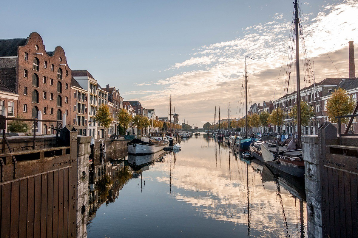 The picturesque marina of Delfshaven is worth visiting when you tour Rotterdam, Netherlands