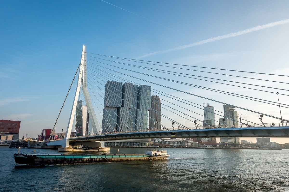Sailing under the Erasmus Bridge on a boat cruise is one of the highlights of Rotterdam sightseeing