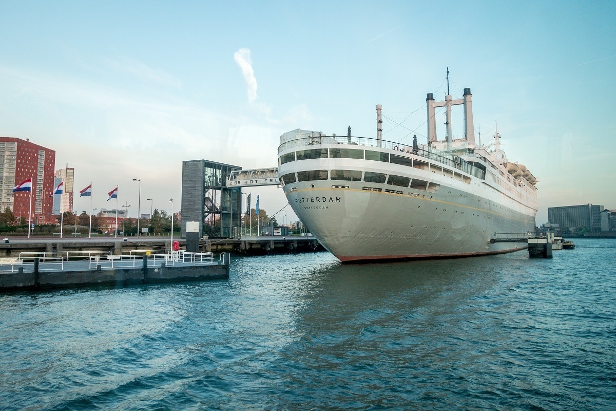 The ss Rotterdam, one of the quirkier Rotterdam sights, is permanently docked as a museum and hotel in the port of Rotterdam