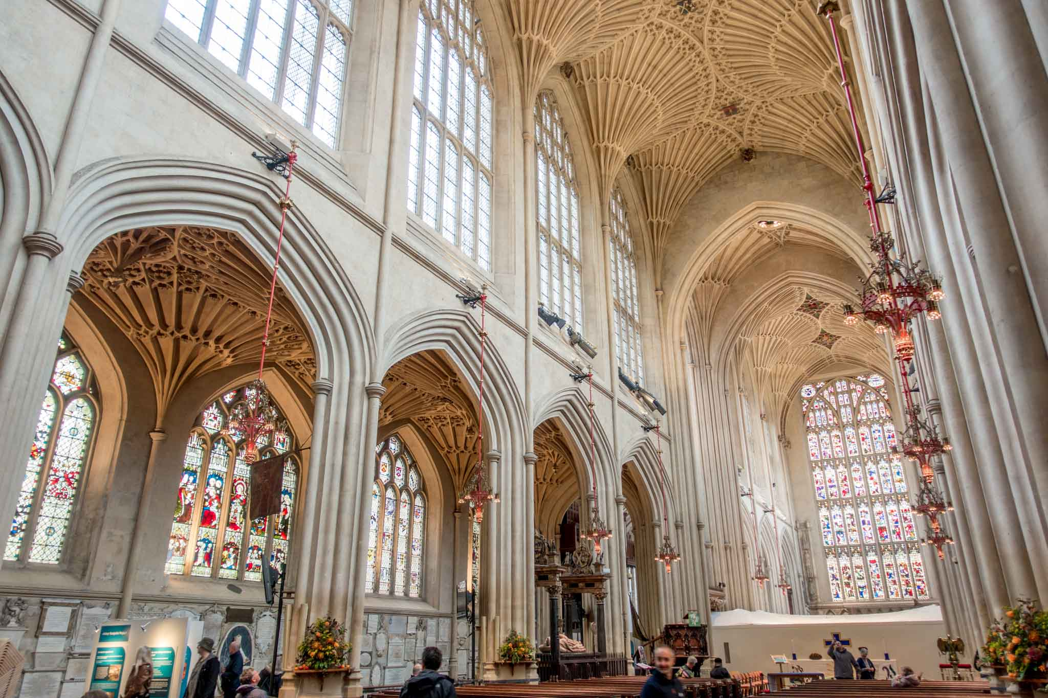 The interior of the Bath Abbey in England.