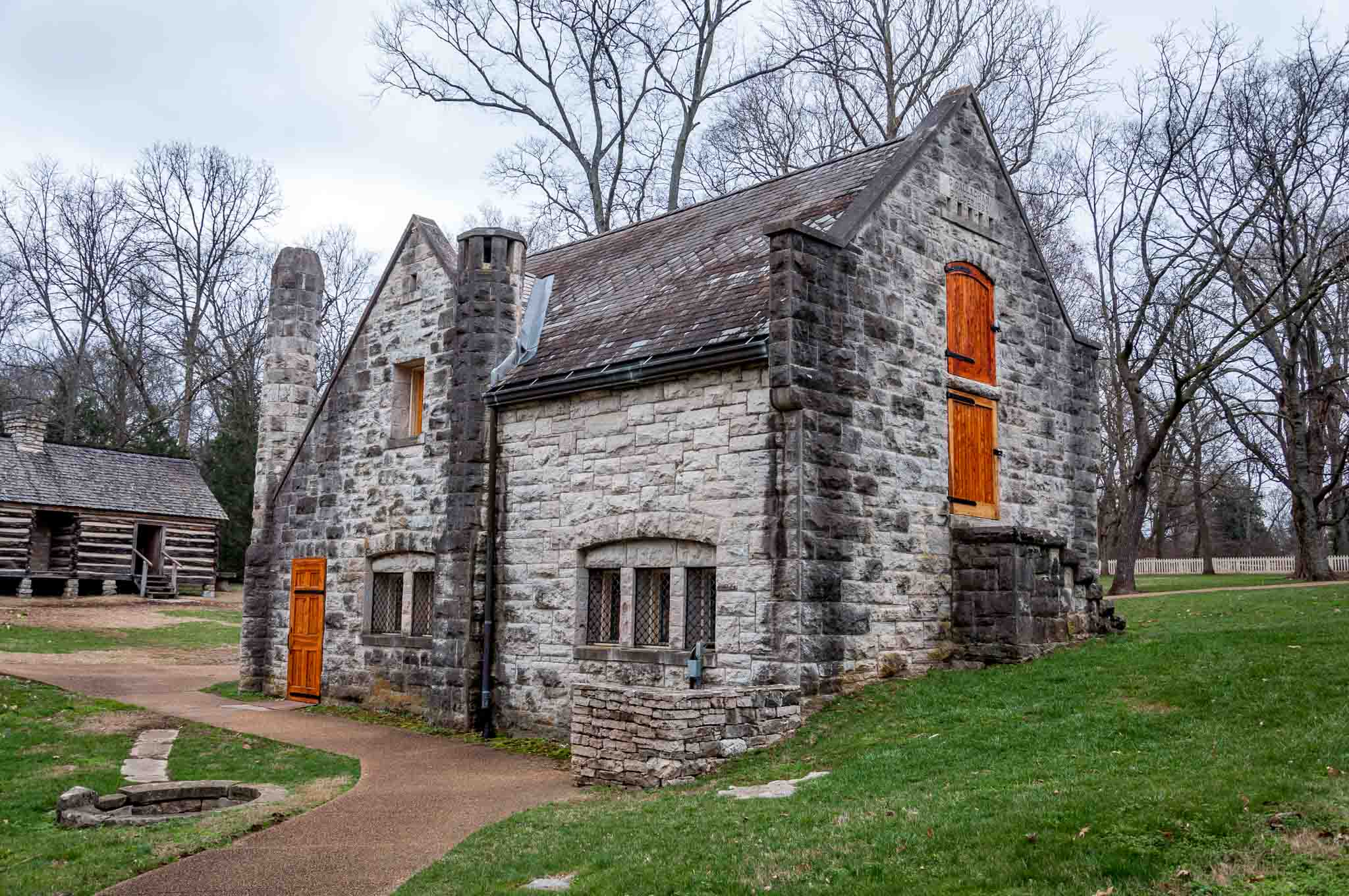 Stone building on a hill, the creamery on the Belle Meade plantation