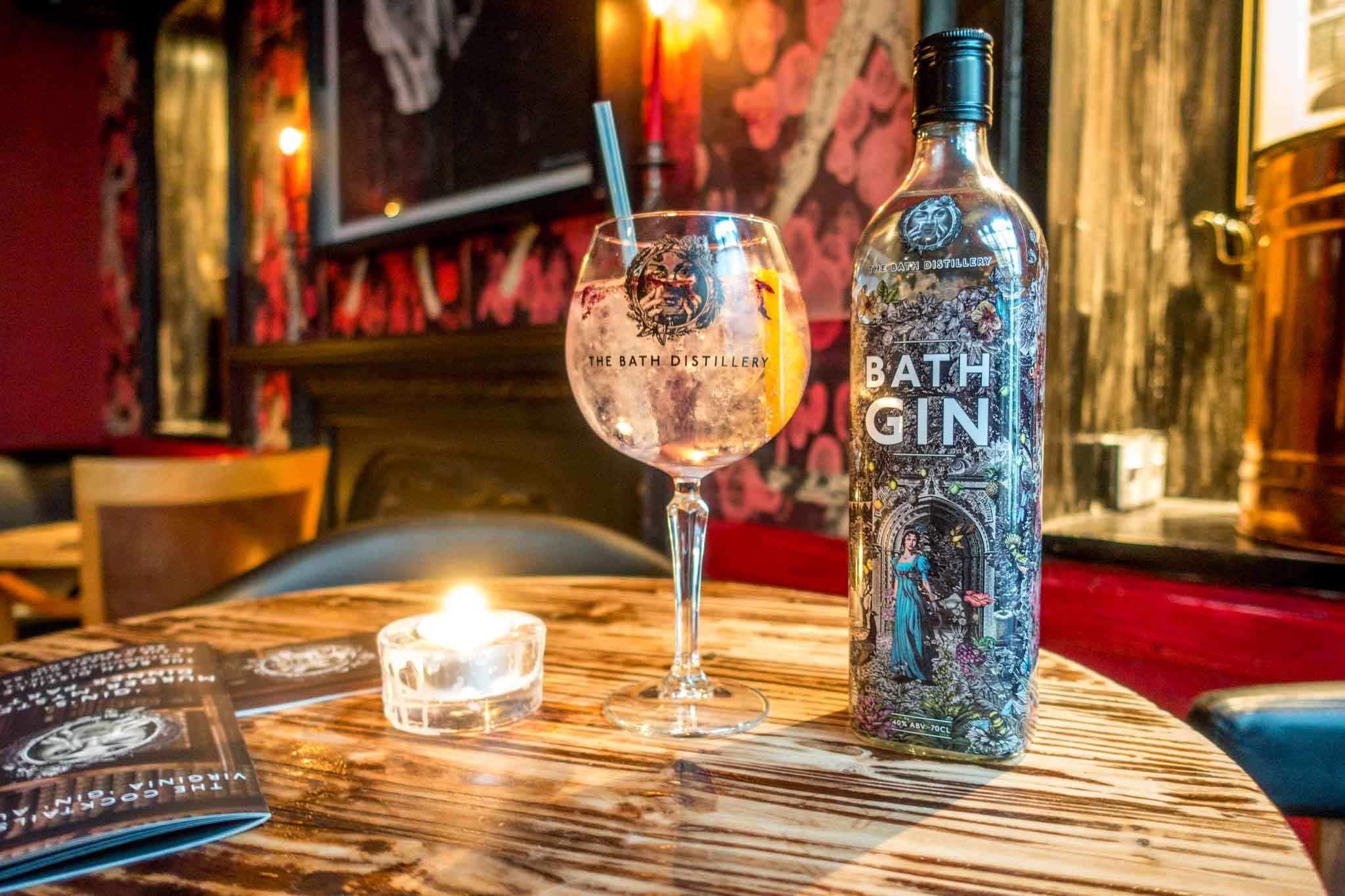 Sampling gins from the Bath Gin Company.