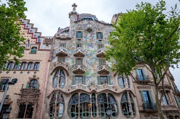 The bright and bony facade of Casa Batllo in Barcelona, Spain