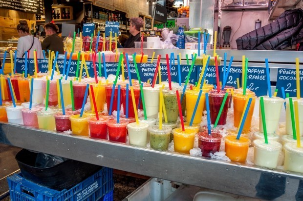 Any smoothie you could ask for at La Boqueria market in Barcelona