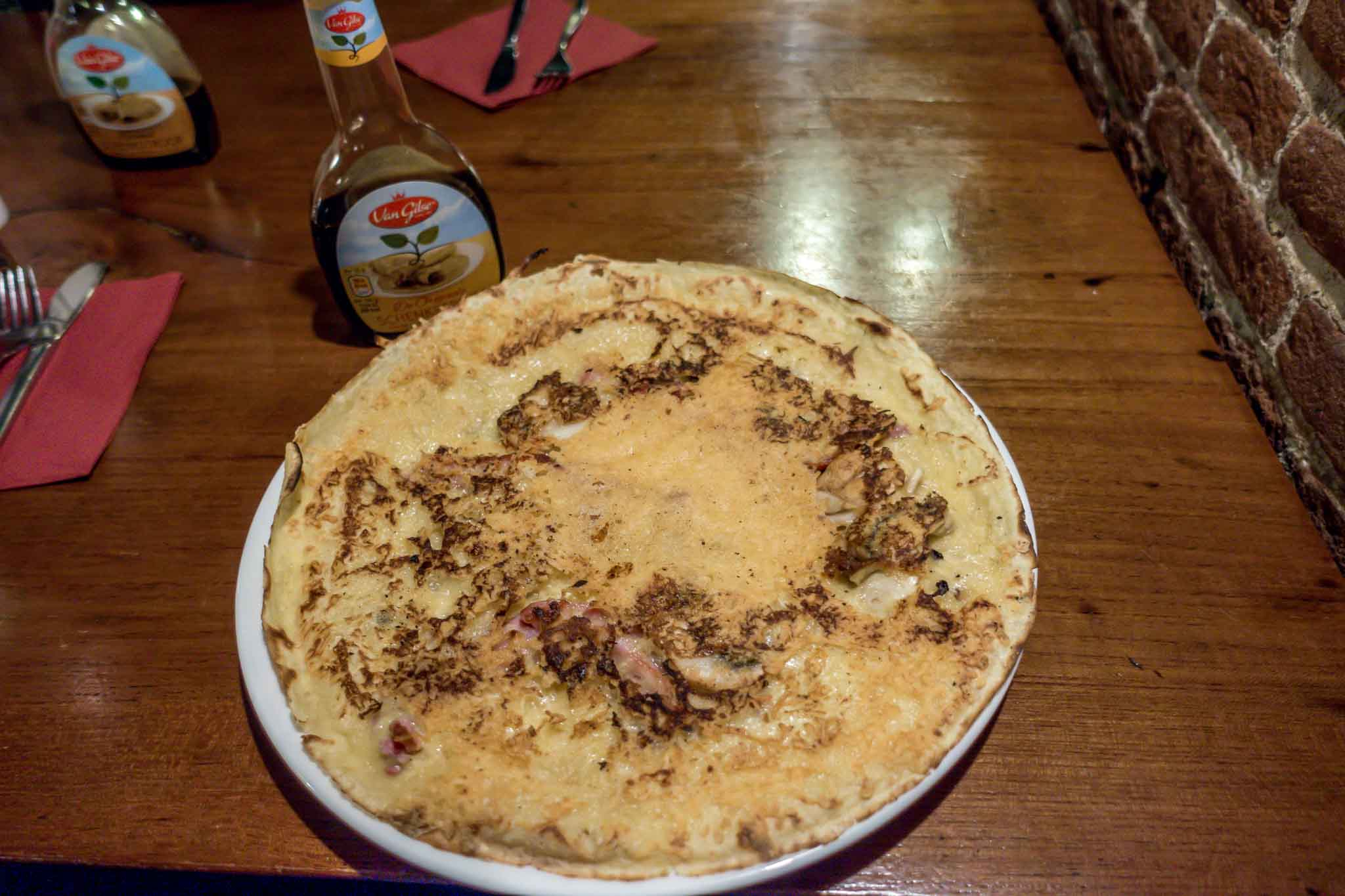 Pancakes for dinner at Amsterdam's The Pancake Bakery are one of the typical Dutch dishes