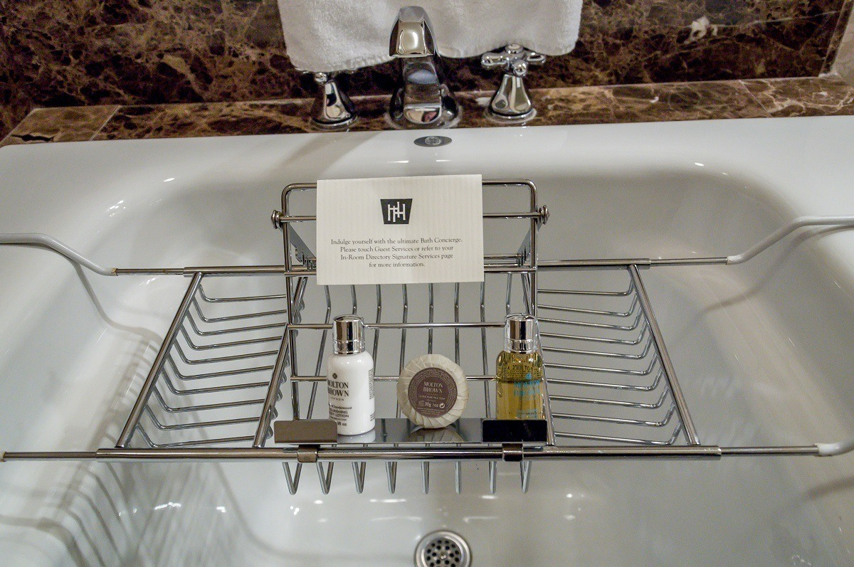 "Soaps and gels in the ""Bath Concierge"" valet"