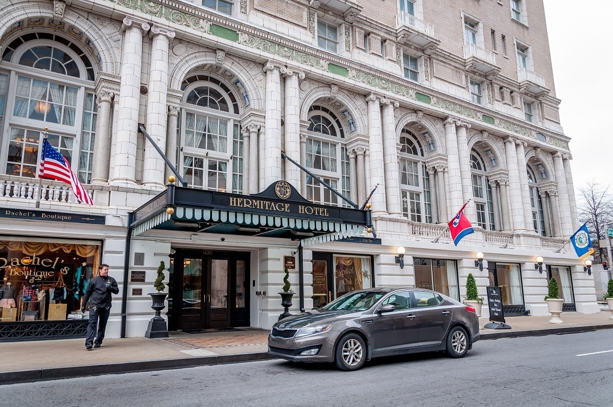 The entrance to the Hermitage Hotel in Downtown Nashville