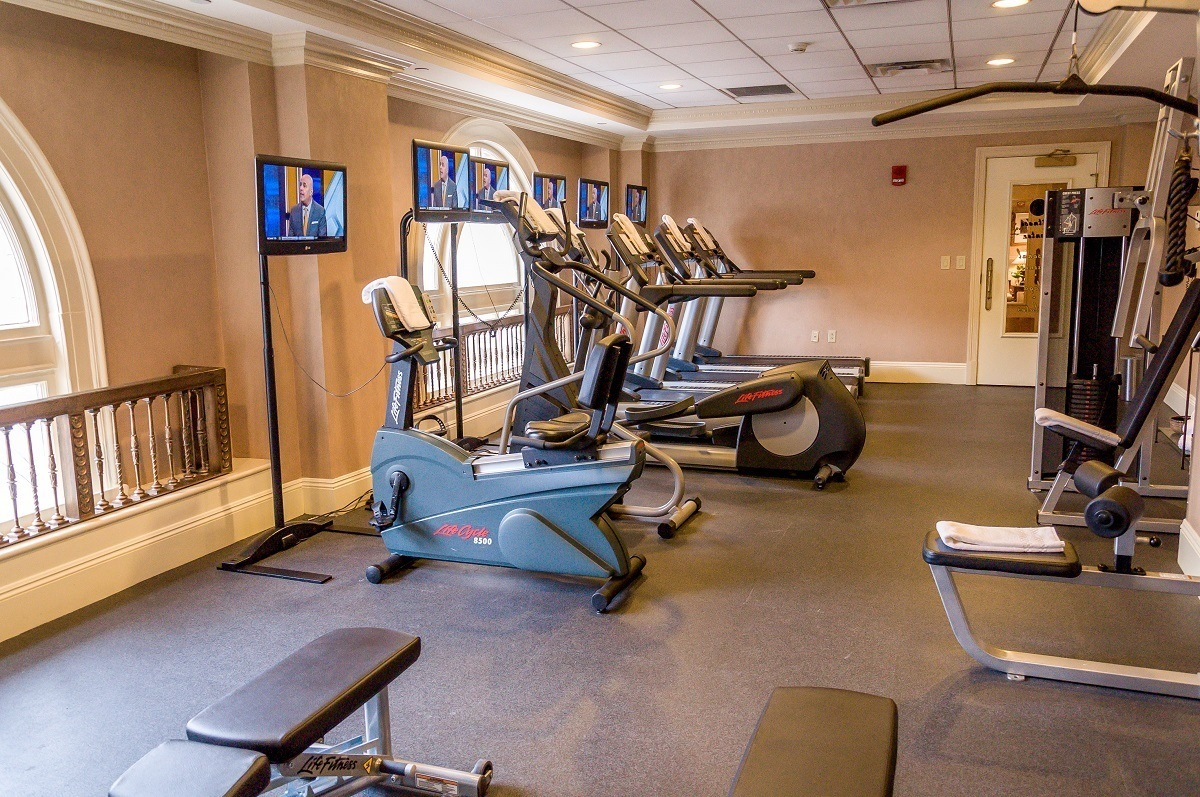 The gym at the Hermitage Hotel.