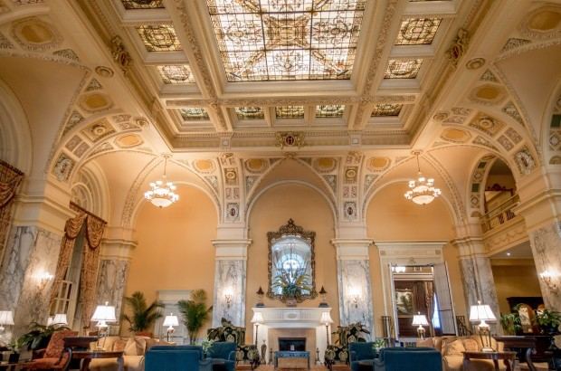 The grand lobby of The Hermitage Hotel Nashville.