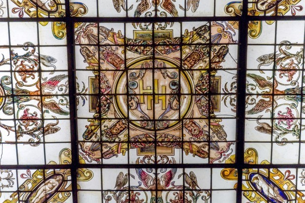 The stained glass skylight at the Hermitage Hotel Nashville.