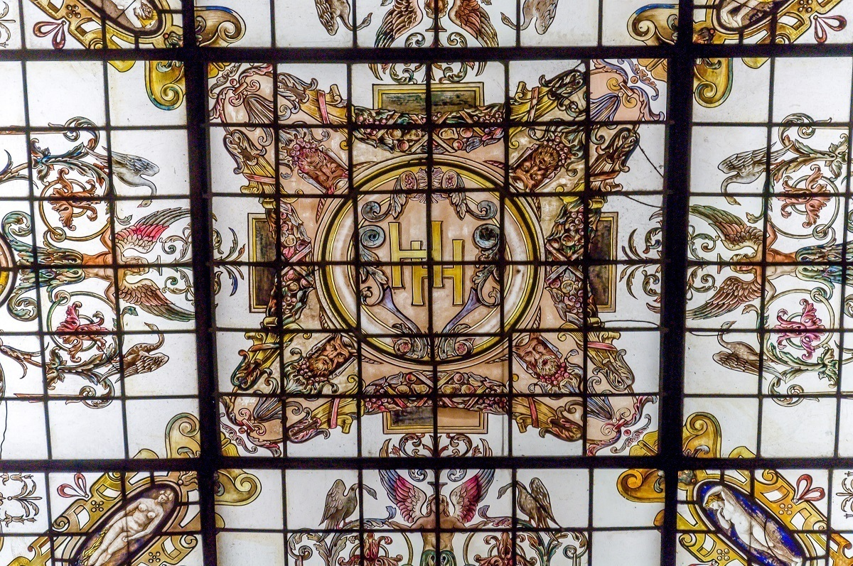 The stained glass skylight at the Hermitage Hotel Nashville