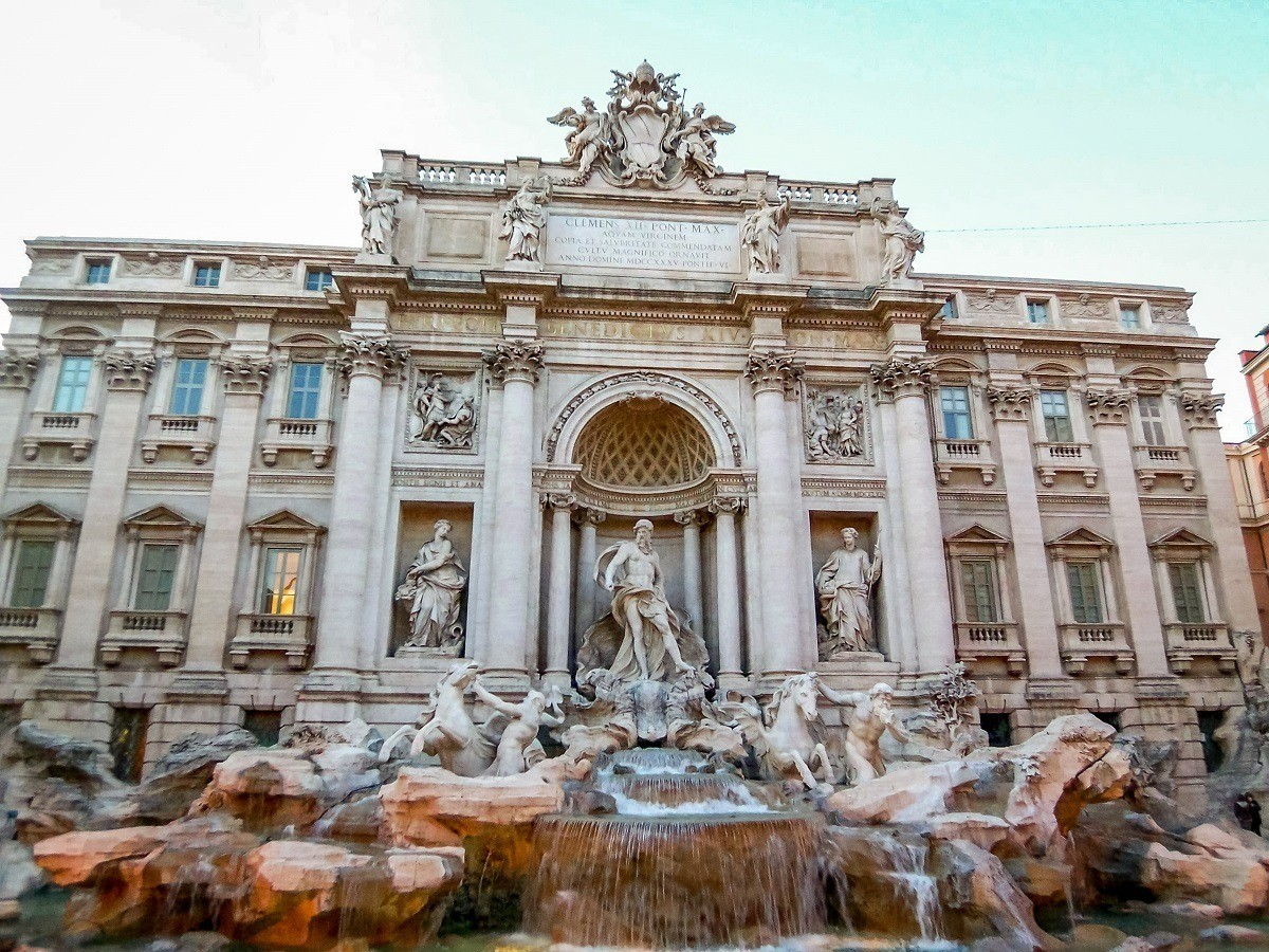 Marble fountain with gods and animal figures, the Trevi Fountain
