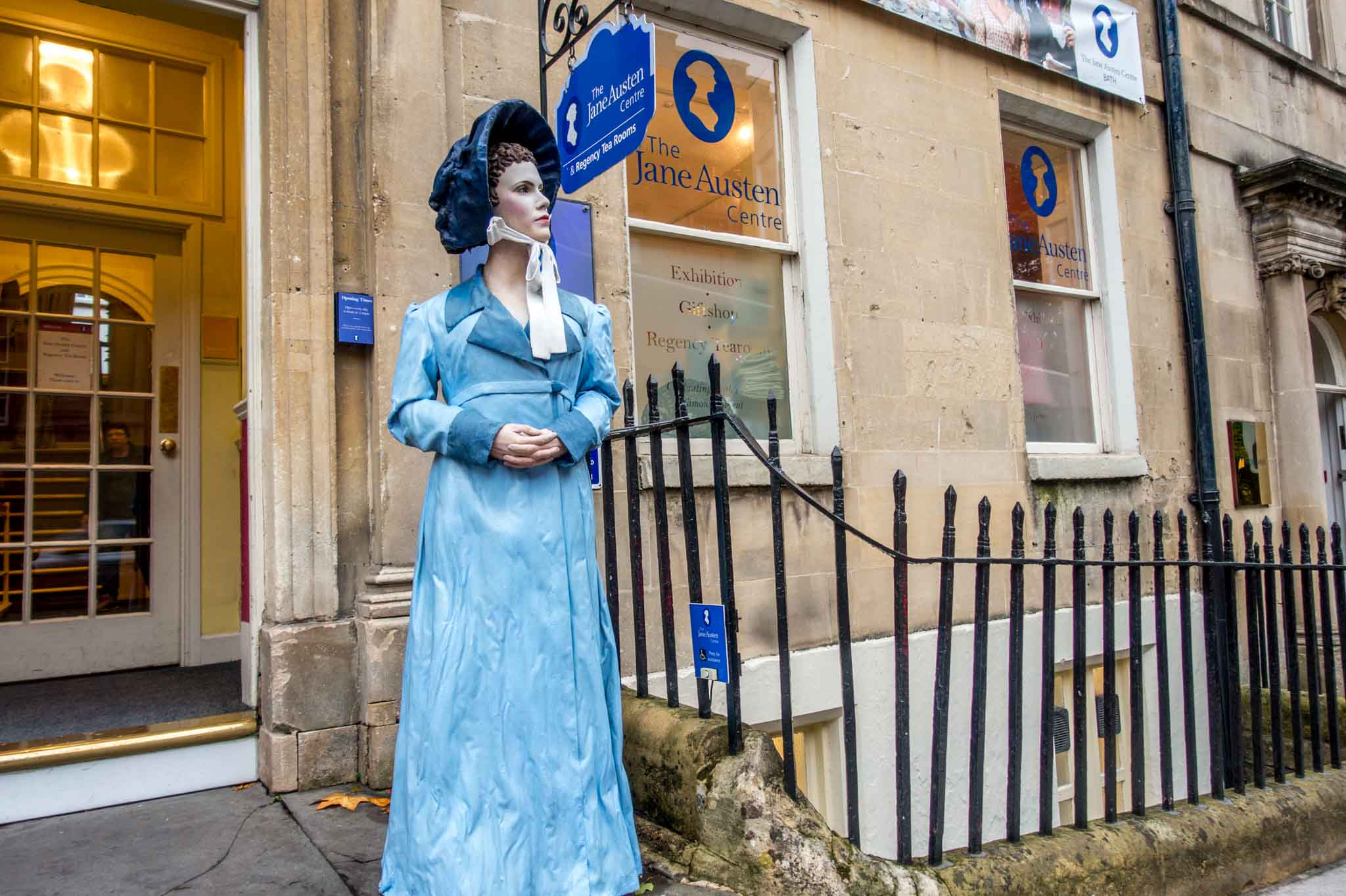 Statue in front of the Jane Austen Center, one of the top places to see in Bath UK