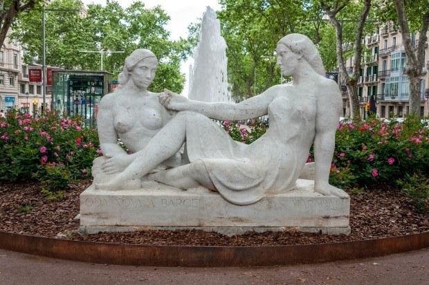 Salvador Espriu Gardens on Passeig de Gracia in Barcelona, Spain