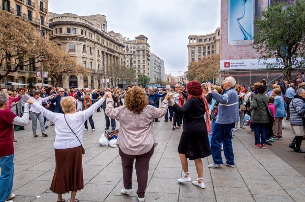 Dancing the Sardana in front of the Barcelona Cathedral in Spain