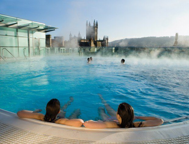 One of the fun things to do in Bath England is to soak in the rooftop pool at the Thermae Spa and gaze out on Bath Abbey
