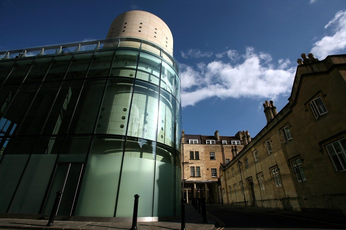 The Bath spa building blends with the city's Georgian architecture.