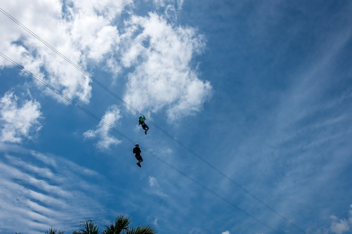 People zip lining above the port