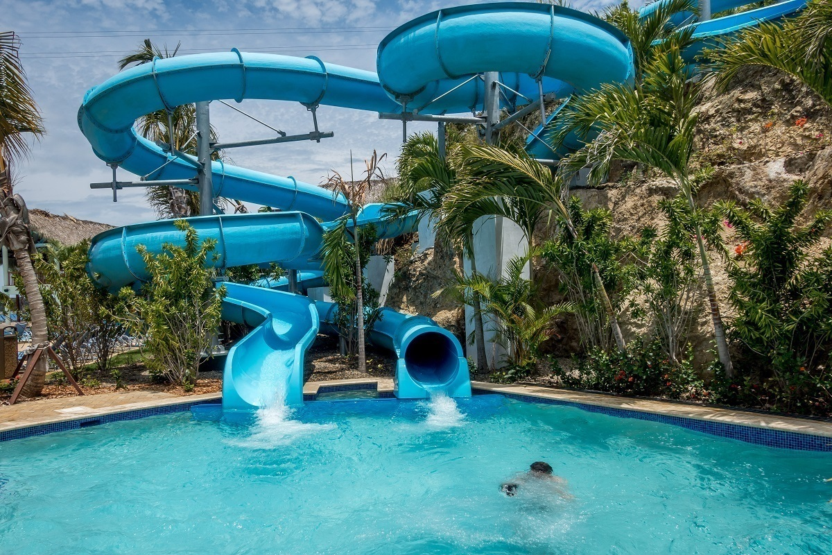 Water slides at Amber Cove Dominican Republic cruise port