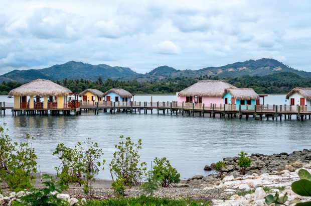 Cabanas at the Amber Cove cruise port in Puerto Plata, Dominican Republic
