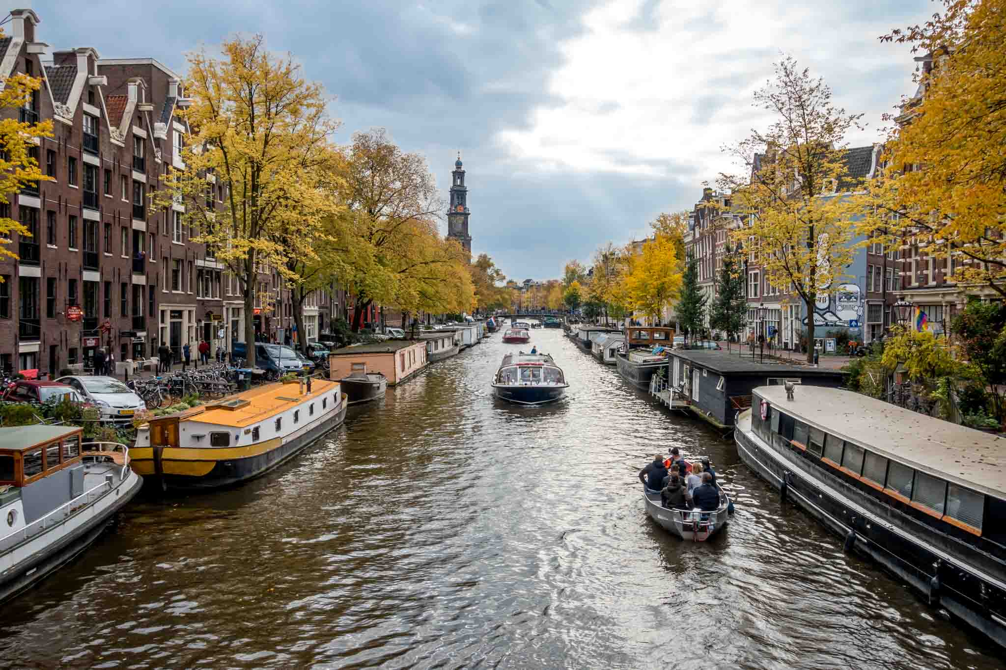 Boats in a canal in Amsterdam Netherlands