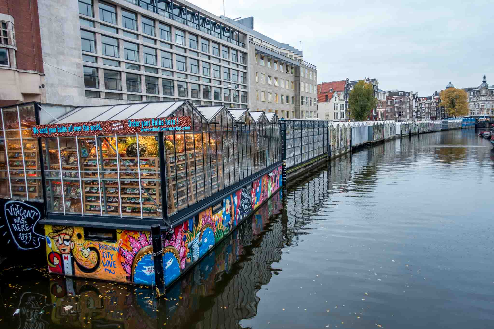 Bloemenmarkt, the floating flower market in the Singel canal, is one of the cool places in Amsterdam for flower lovers