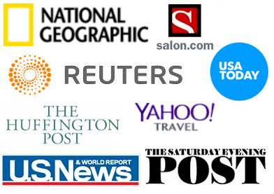 As seen on - national geographic - reuters - salon - huffington post - yahoo! travel- saturday evening post - us news and world report - usa today