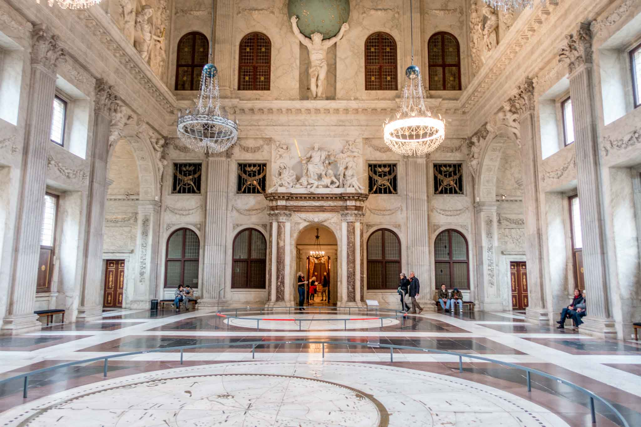 Central Hall in the Royal Palace, one of the Amsterdam main attractions