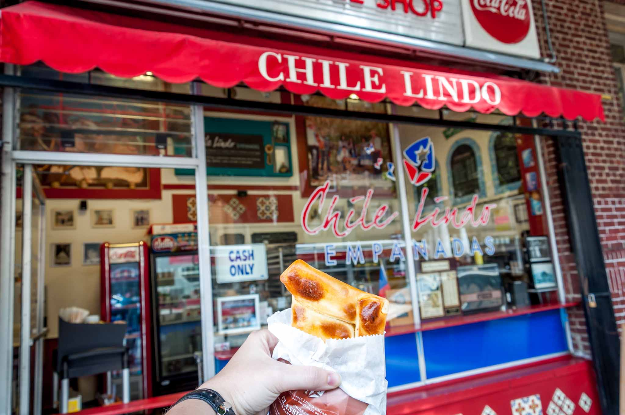 Chilean empanada in front of Chile Lindo in the Mission District SF